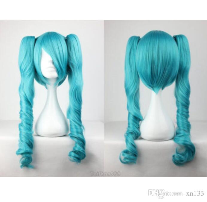 Venda quente novo Vocaloid Hatsune Miku dois tons rabo de cavalo encaracolado azul peruca Cosplay + Cap