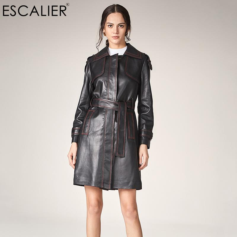 ESCALIER Women Causal Trench 2018 Hot Sale Genuine Leather Material Trench Coat For Women Long Turn-down Collar Sashes