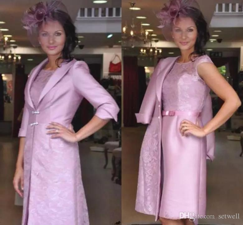 Two Pieces Mother of the Bride Dresses with Jacket Lace Knee Length Sheath Short Evening Gowns Cheap Wedding Guest Dress