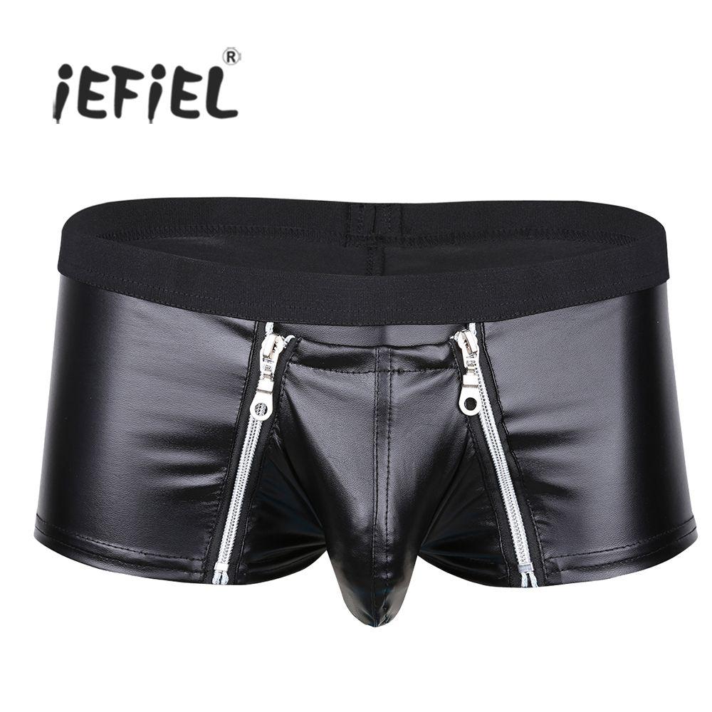 IEFiEL Homens Lingerie Faux Leather Zipper Bolsa Bolsa Boxer Shorts Sexy Hot Penis Underwear Cuecas Homem Gay Lingerie Calcinha
