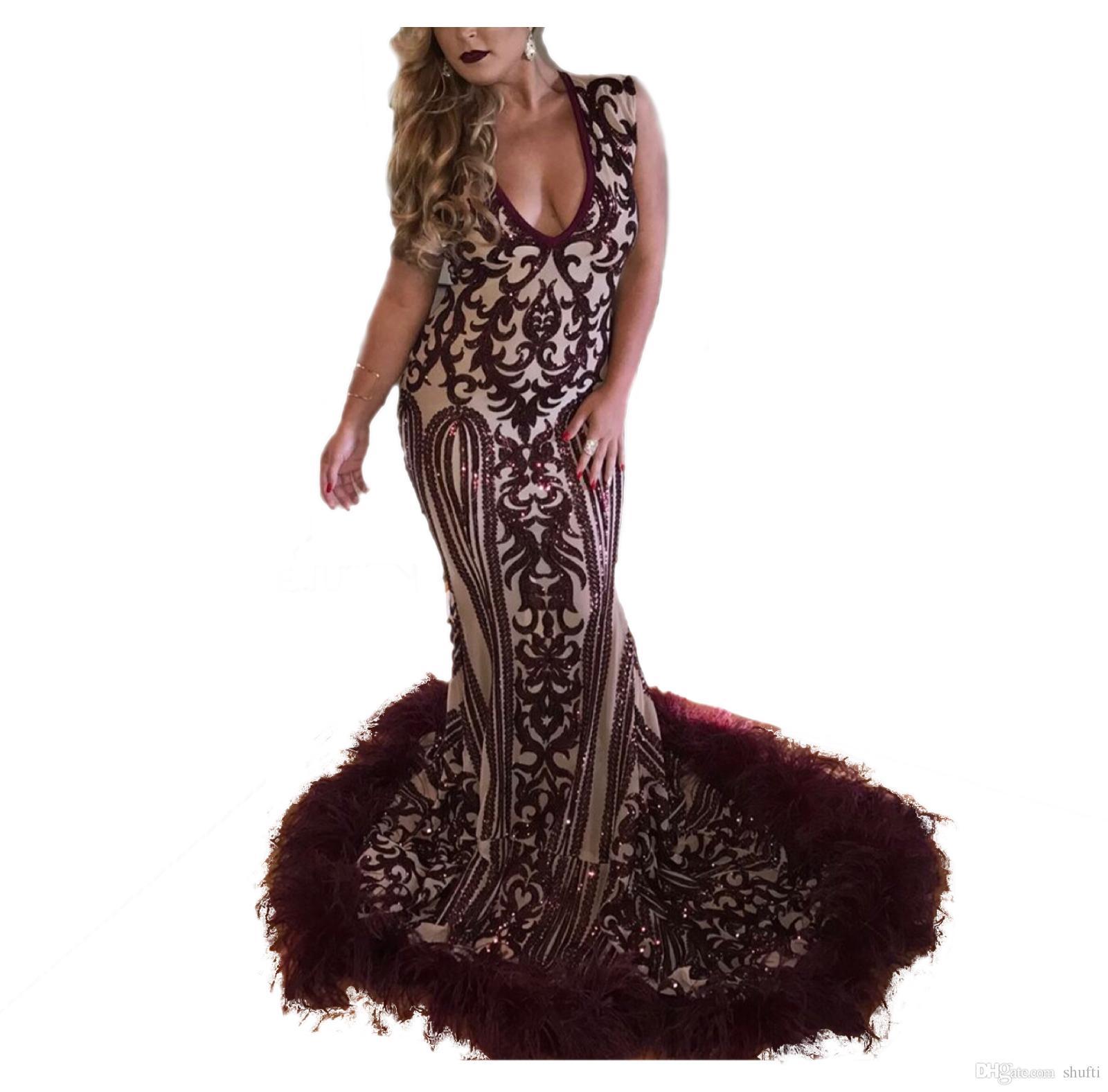 Lüks Binbaşı Boncuk Mermaid Abiye 2018 Derin V Yaka Tüy Gelinlik Modelleri Uzun Vestidos De Festa Arap Dubai Parti Elbiseler