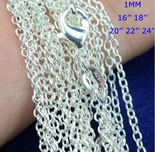 """100pcs /lot 925 Sterling Silver plating Rolo """" O """" Chain Necklaces 1mm 16/18/20/22/24'' 925 Silver Chains Fit Pendant Jewelry 2138"""
