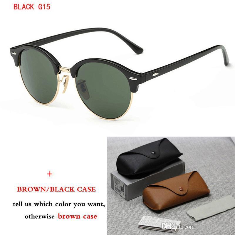 Marque Lunettes de soleil rétro rondes femmes hommes 2018 Nouveau Des lunettes de soleil cadre demi-métal lentille G15 UV400 avec la boîte