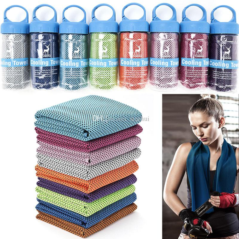 New Double Layer Ice Cold Towel Sweat Absorption Running Yoga Towels Quick Dry Soft Breathable Towel Bucket packaging Custom logo WX9-845