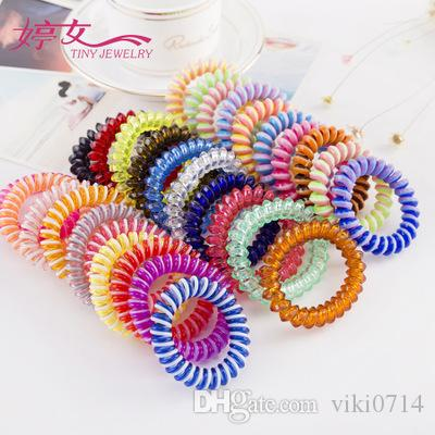 Candy color high elastic telephone ring wholesale can be used as a bracelet for MM disc player.