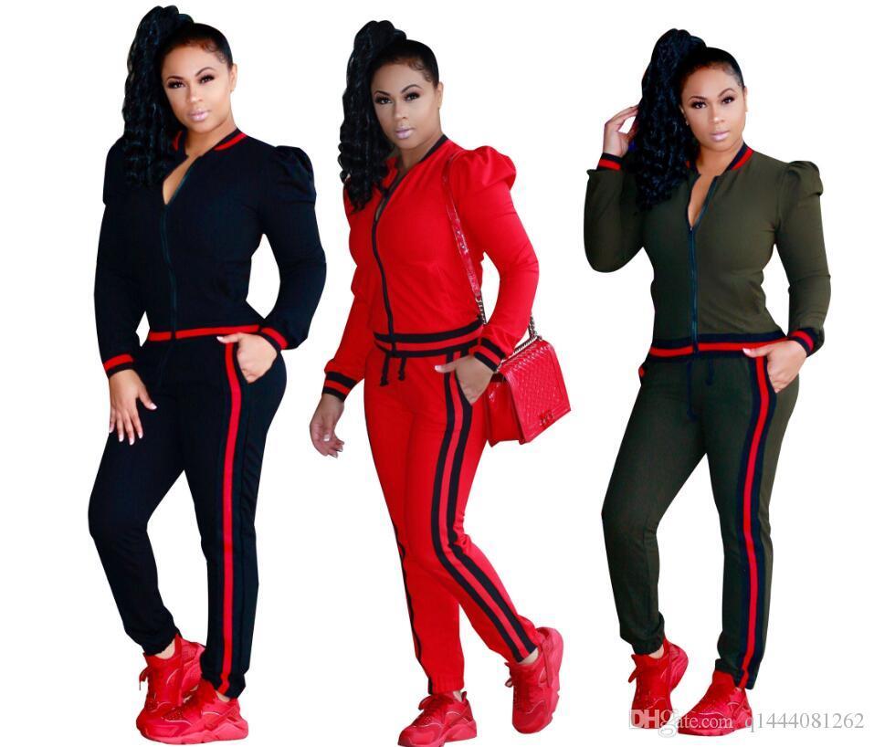 Conjunto de duas peças de outono inverno zipper jaquetas top e side listrado calças de fitness outfit ternos de trilha casuais mulheres agasalho