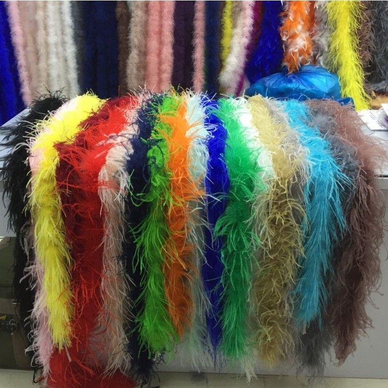 5pcs / lot 200cm boda de la tira de la pluma de avestruz para el partido Marabou Feather Boa bufanda del traje de la tira de plumas de avestruz