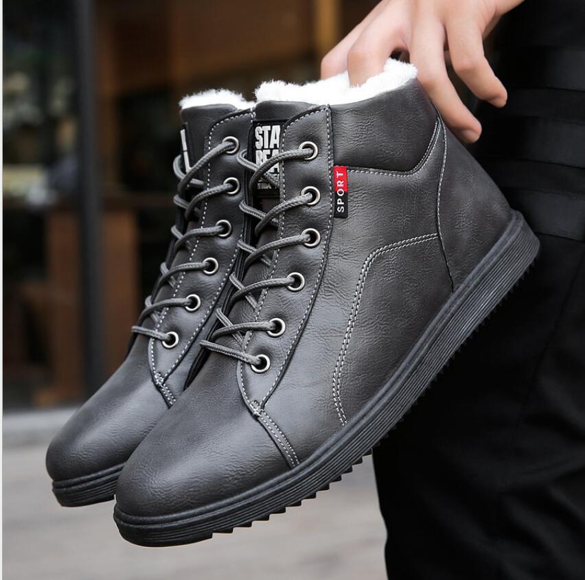 super warm Ankle boots men winter boots men Rubber work shoes warm fur snow wear-resistant male botas hombre sneakers