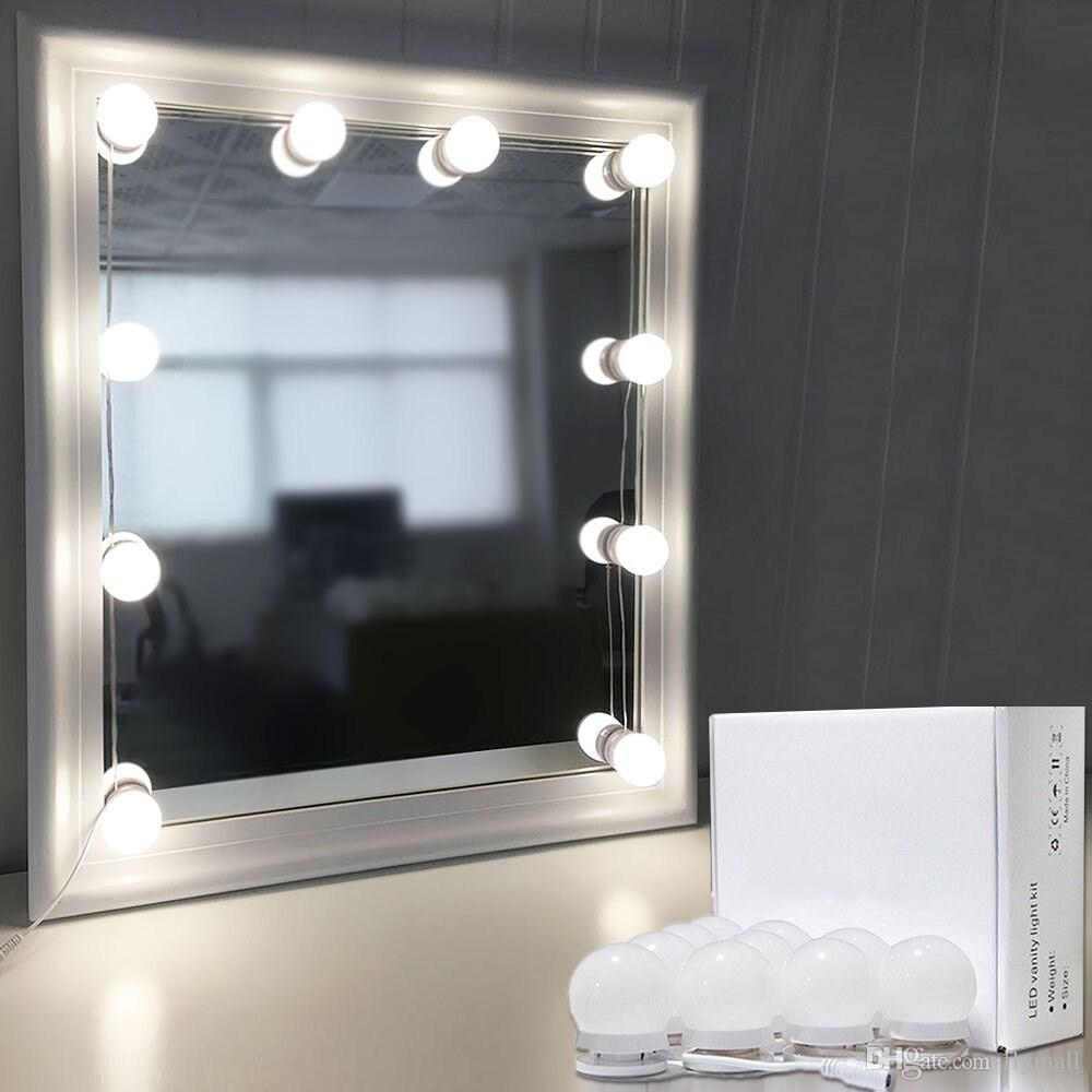 Hollywood Mirror Light Kit With Dimmable Light Bulbs For Makeup Dressing Table Diy Led Vanity Lighting Strip With Quality Adhesive 10 Lights String
