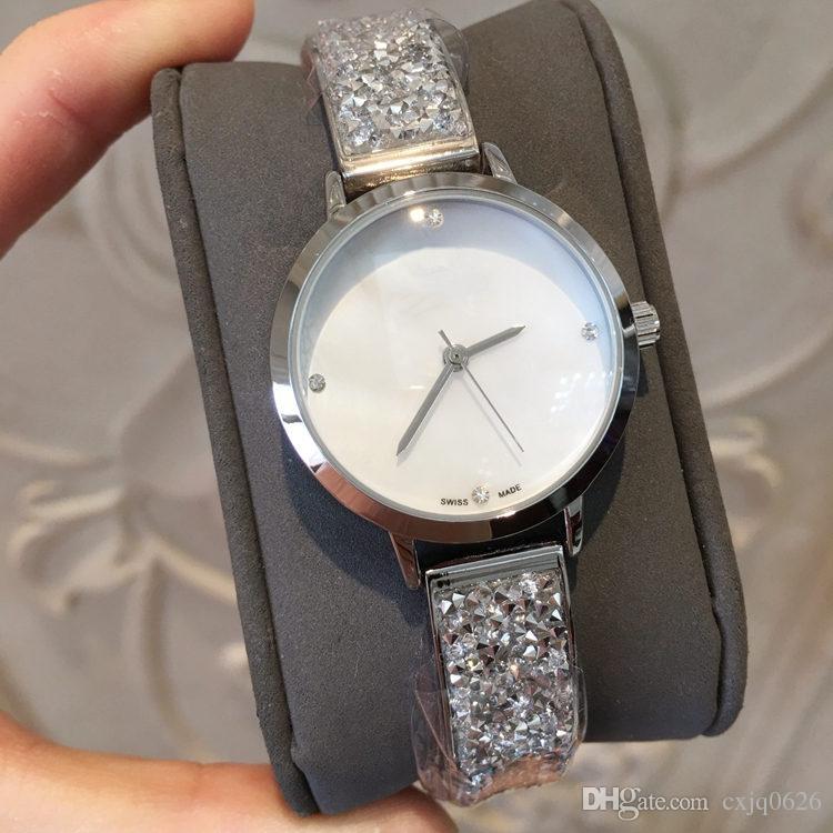 2019 브랜드 백조 새로운 디자인 레이디 여성 석영 스틸 팔찌 체인 장미 여성 시계 다이아몬드가있는 시계 손목 시계 일본 운동 생명 방수