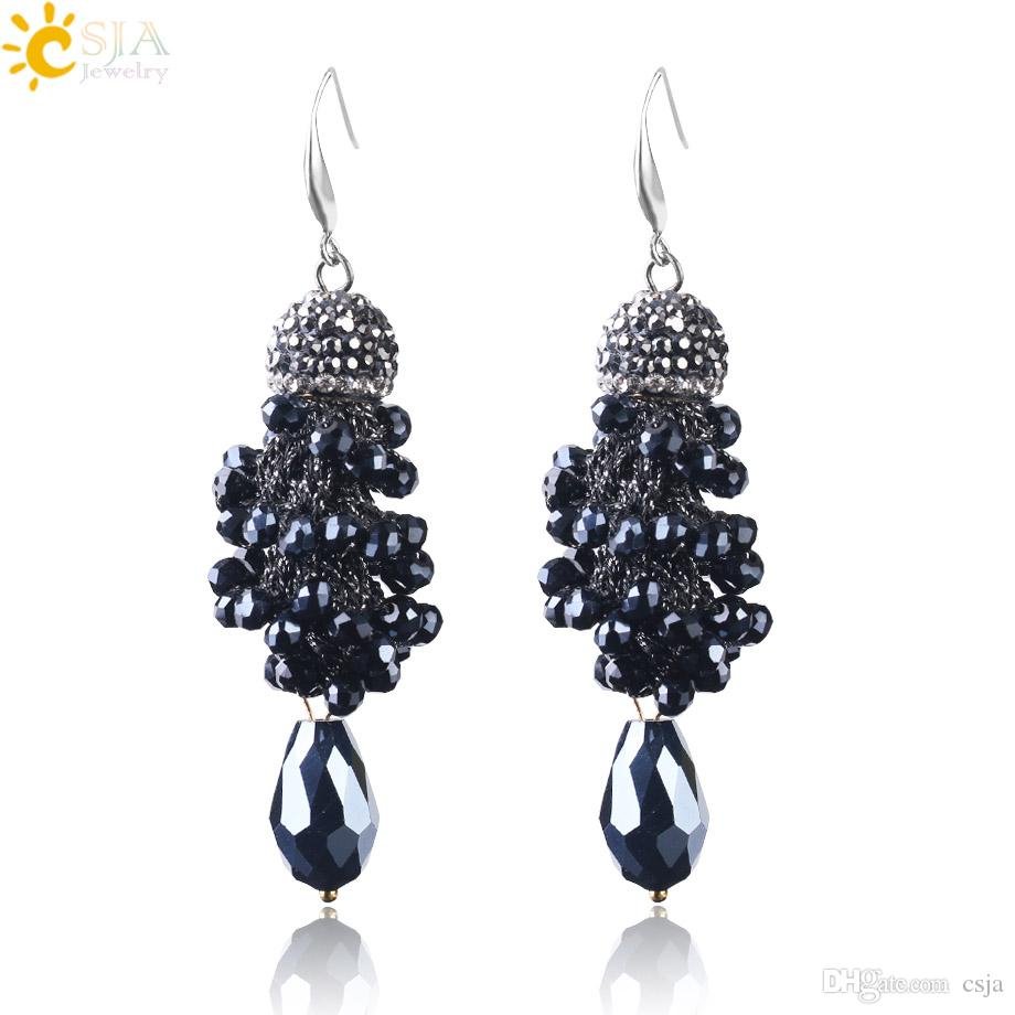 CSJA Spiral Earrings for Women Fashion CZ Diamond Beads Jewelry 2018 Rhinestone Pendant New Dangle Earring with Stainless Steel Hooks S120