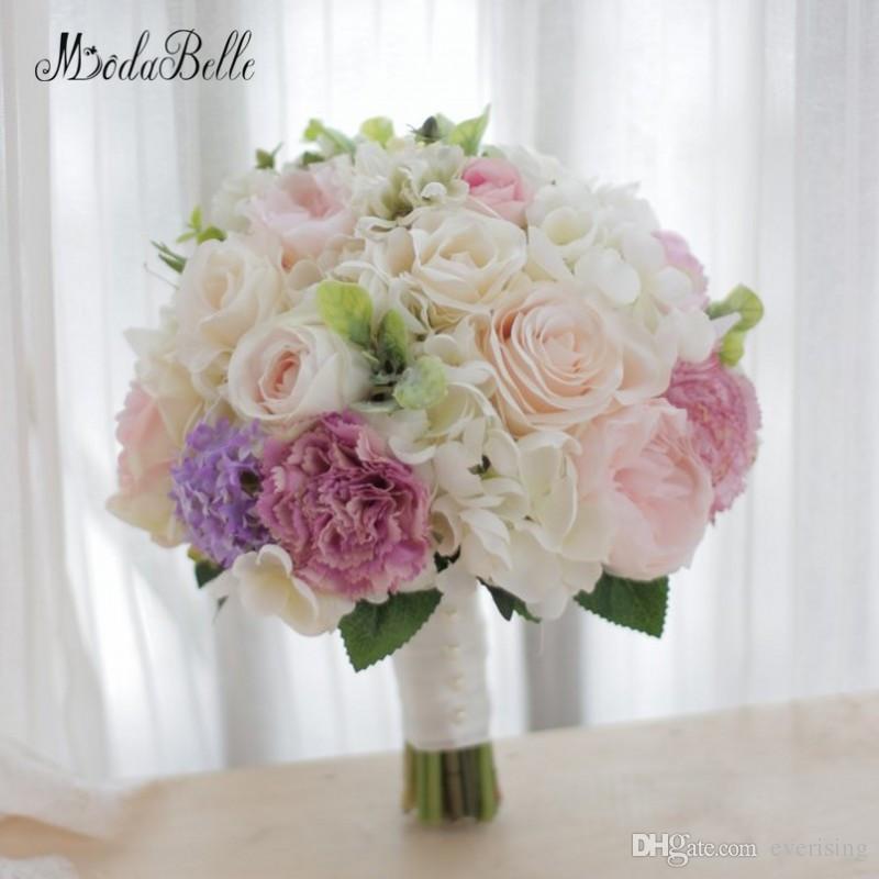 Modabelle Haut de gamme Personnalisé Rose Bouquet De Mariage Ivoire Roses Artificielles Pivoine Hortensia À La Main Mariée Tenant Bouquet De Fleurs