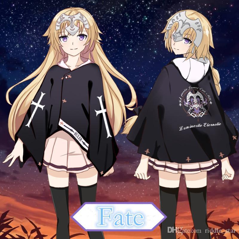 Asya Boyutu Japonya Anime Kader Kalmak Gece Joan of Arc Cadılar Bayramı Cosplay Kostüm Unisex Pelerin Cloak Ceket