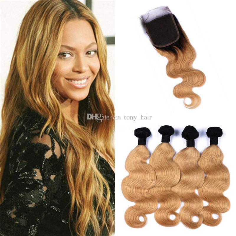 Strawberry Blonde Ombre capelli umani 4 bundle con chiusura Two Tone 1B / 27 Ombre di corpo Onda Tessiture capelli e chiusura 5pcs