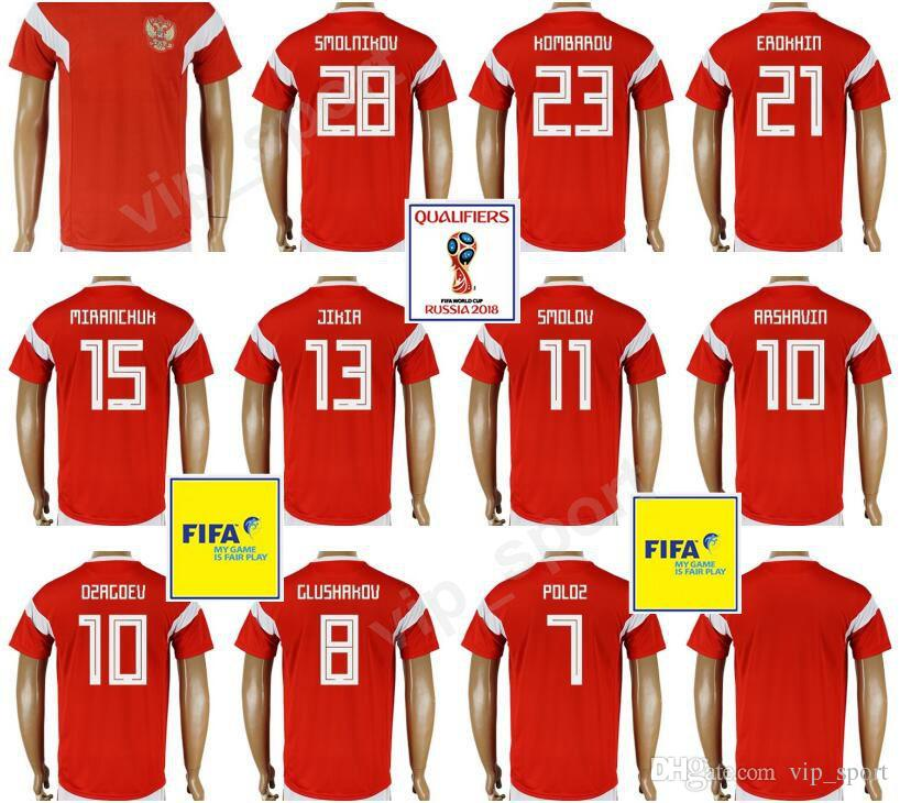 sneakers for cheap 33769 a435d 2019 Russia Jersey 2018 World Cup Football Shirt Kits Thai 10 ARSHAVIN 18  ZHIRKOV 28 SMOLNIKOV 23 KOMBAROV 11 SMOLOV 21 EROKHIN Soccer Jerseys From  ...