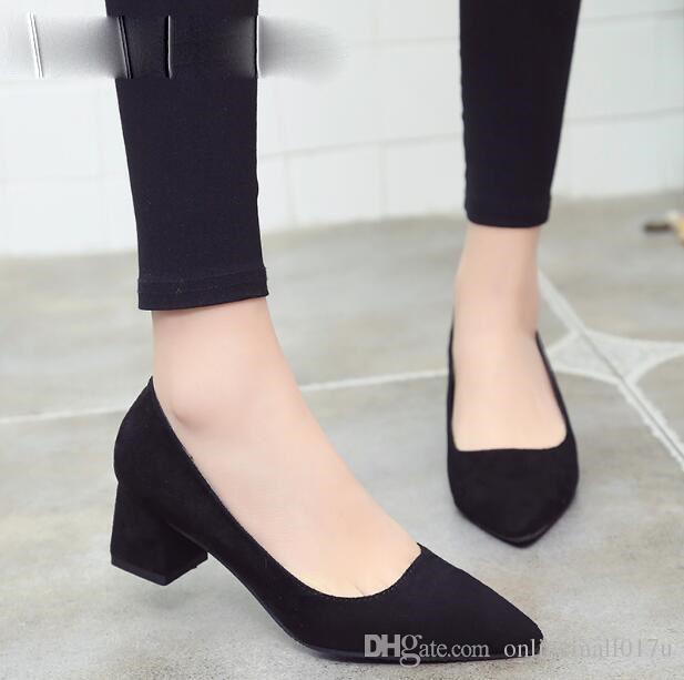 Zapatos de mujer de moda sexy Square tacones altos mujeres punta estrecha zapatos de boda rojo negro vestido de mujer zapatos de mujer
