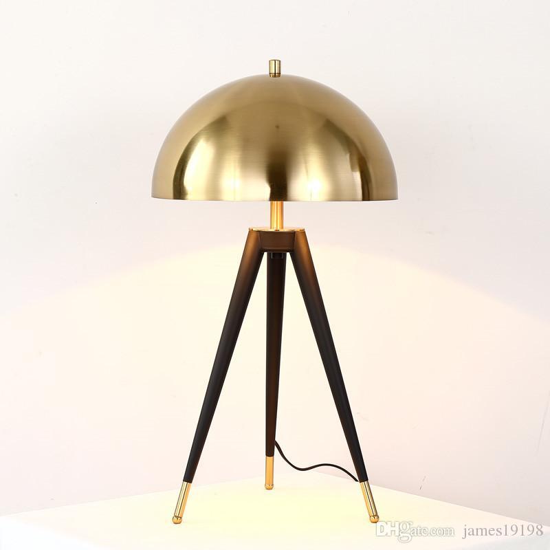 Металлической тренога Настольной лампы Современный золотого гриб Таблица свет для гостиной кабинета спальни прикроватного читального зала Домашнего освещение TA056