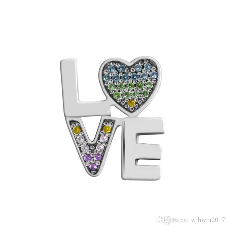 New Authentic 925 Sterling Silver Bead Charm The Rainbow Word Love With Multi-Colored Cryatal Beads Fit Brand Charm Bracelet Diy Jewelry