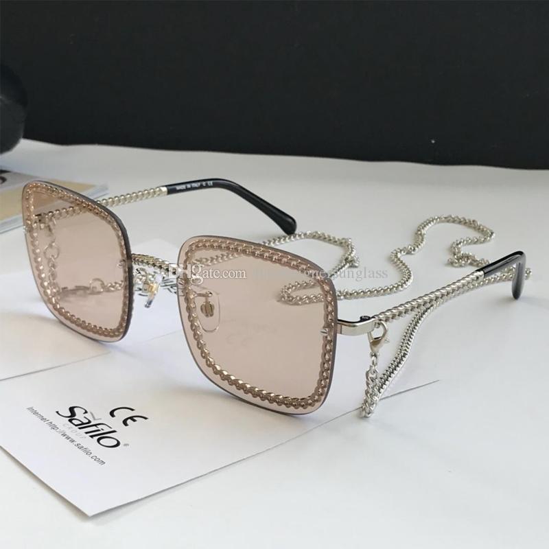 4244 Популярные солнцезащитные очки для женщин площади Sunglass с цепочкой УФ-защитой с длинной цепью, верхнее качество с оригинальной коробке