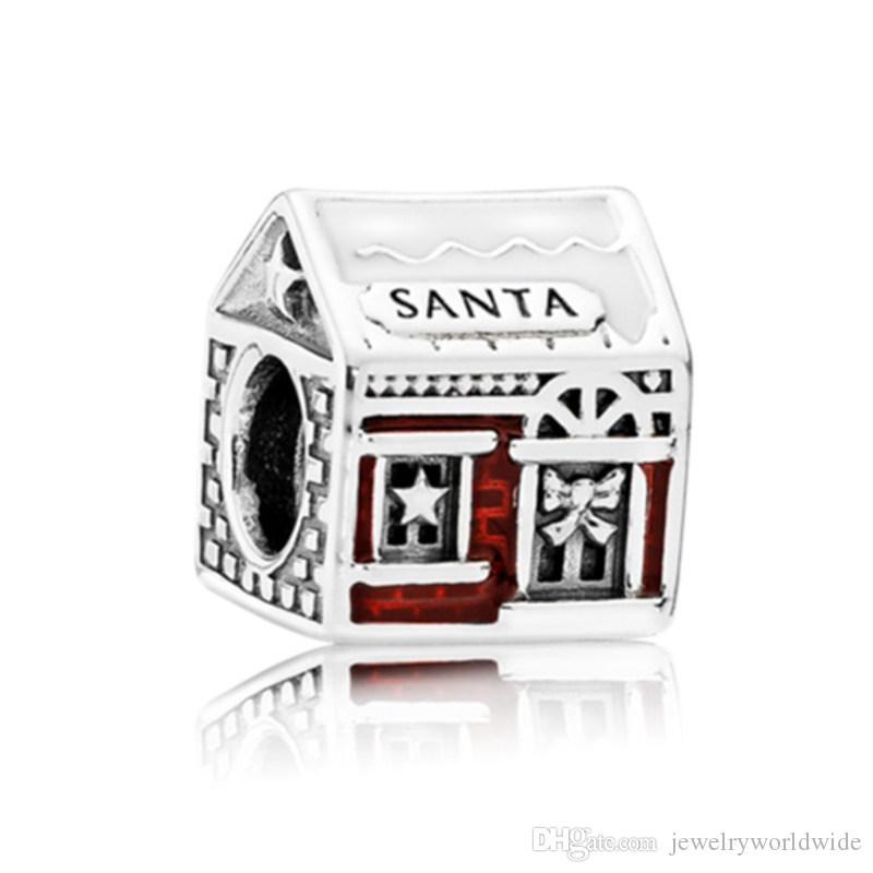 Natale Get-Together casa dipinta fascino tallone grande buco moda donna gioielli stile europeo per collana braccialetto fai da te nuovo arrivo