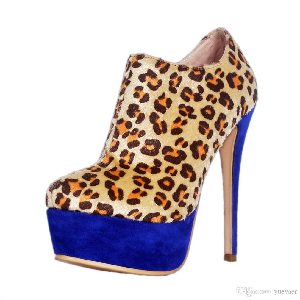 Zandina Venda Quente Artesanal Das Mulheres de Salto Alto Botas de Leopardo Redonda Toe Low Cut Moda Festa Prom Tornozelo Botas A013