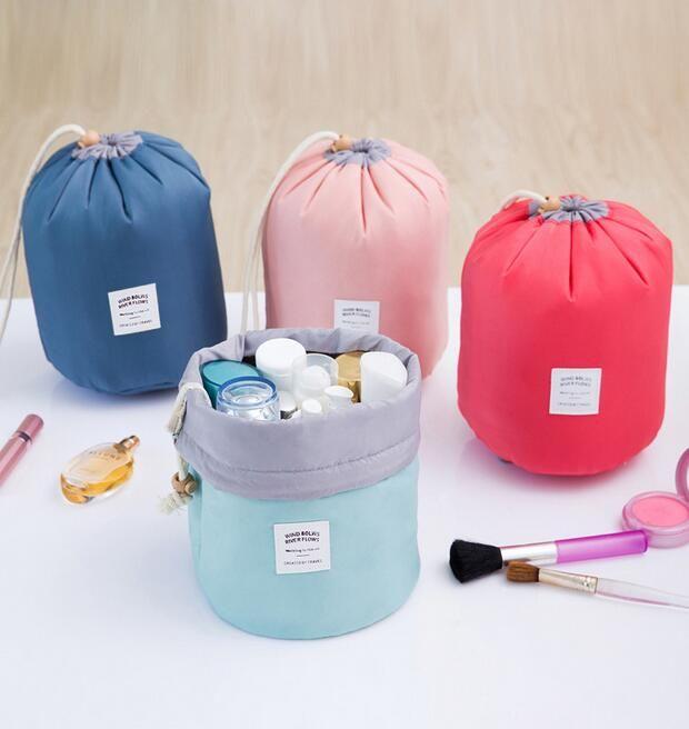 New Arrival Barrel Shaped Travel Cosmetic Bag Nylon Polyester High Capacity Drawstring Elegant Drum Wash Bags Makeup Organizer
