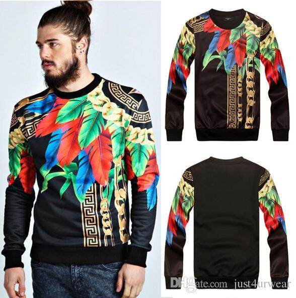 Paris Top Design Golden Chains Feathers Leaves Pollover Sweatshirts Men Women Long Sleeved Tshirt Medusa Cool 3D Floral Print Hoodies Tops