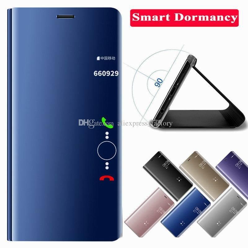 codice promozionale 188e5 4f328 Custodia Huawei P8 Lite Custodia Protettiva Vibrazione Intelligente Con  Rivestimento Metallico Specchio Intelligente Huawei P30 Lite P20 Pro Mate  20 X ...