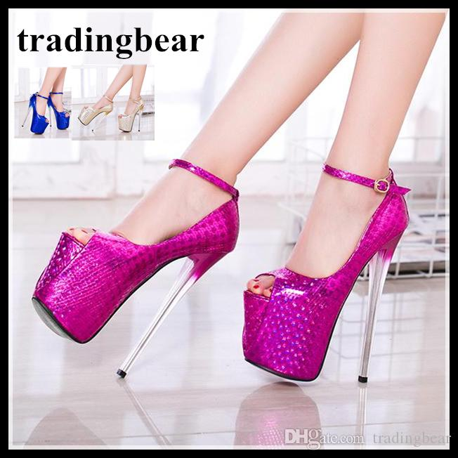 Glitter Fuchsia Ankle Strap Peep Toe Platform Pumps High Heels Party Prom Shoes Big Size 35 To 40 41 42 43