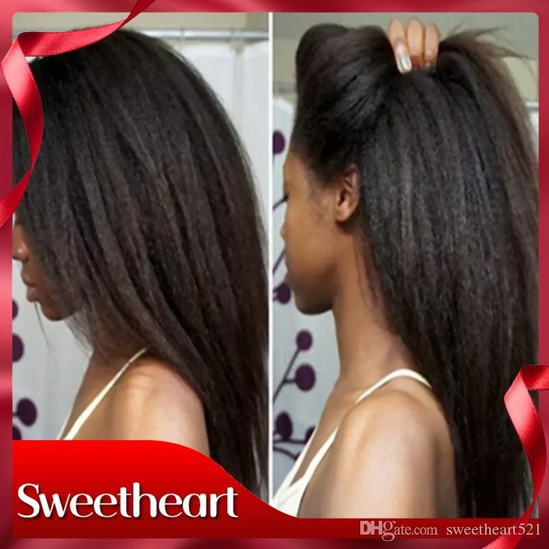 Естественный вид полный кружева кудрявый прямые волосы Glueless синтетические кружева фронт Яки прямые парики с волосами младенца жаропрочных полный женщин парики