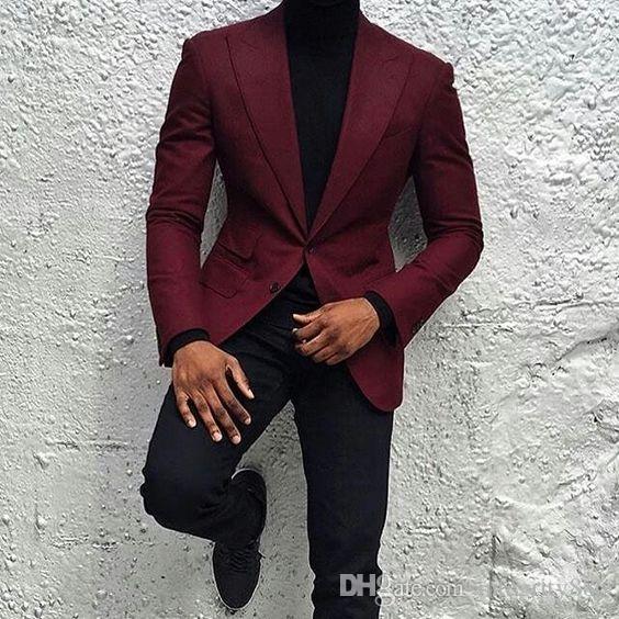 Nouveau mode Bourgogne Groom Tuxedos Deux boutons Slim Fit garçons d'honneur hommes d'affaires costume formel parti bal costume (veste + pantalon + cravate) n °: 118