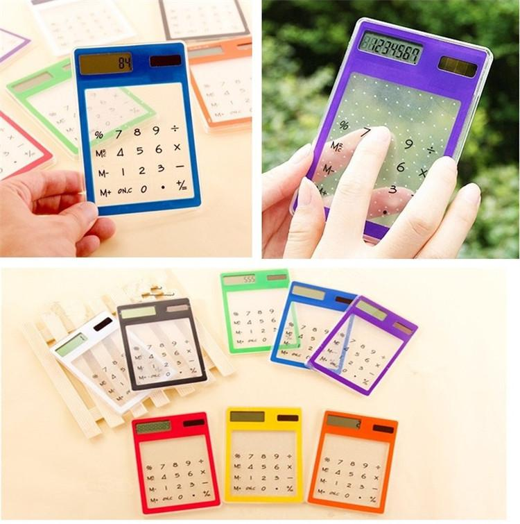 Portáteis 8 cores Calculadora Solar transparente Mini Handheld Calculator Stationery Para alunos Conveniente ultra-fina Calculadora T3I0453