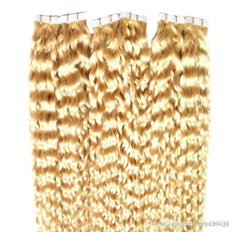 İnsan Saç In Bant Uzatma Sarışın 60 # Derin Curl 30 İnç Cilt Atkı Kuaför Stili 40pcs / pac