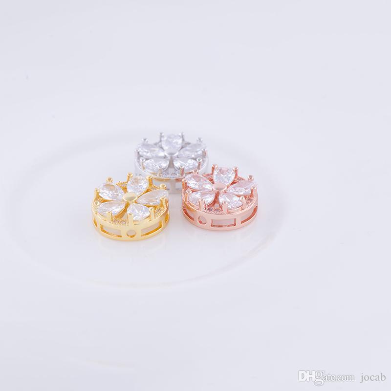 Großhandel DIY Handgemachten Schmuck Erkenntnisse Komponenten Luxus CZ Kristall Sun Flower Kleine Charms Perlen Connectors Armbänder Halskette Schmuck