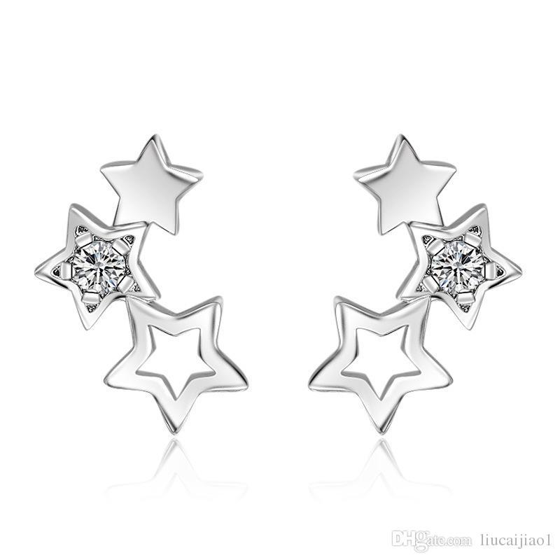 Nouvelle version coréenne du tempérament simple boucles d'oreilles argent boucles d'oreilles bijoux creux cinq étoiles angle boucles d'oreilles femme
