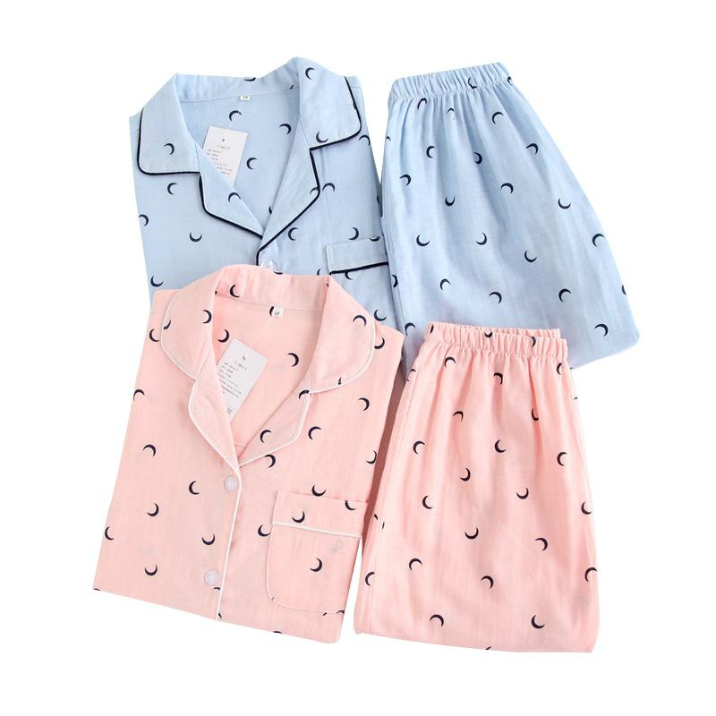 Couple de pyjamas Ensemble de pyjamas de coton de lune Moon pijamas FemmesHomme pyjama à manches courtes Automne Printemps 2pcs Vêtements de Nuit Lounge Wear