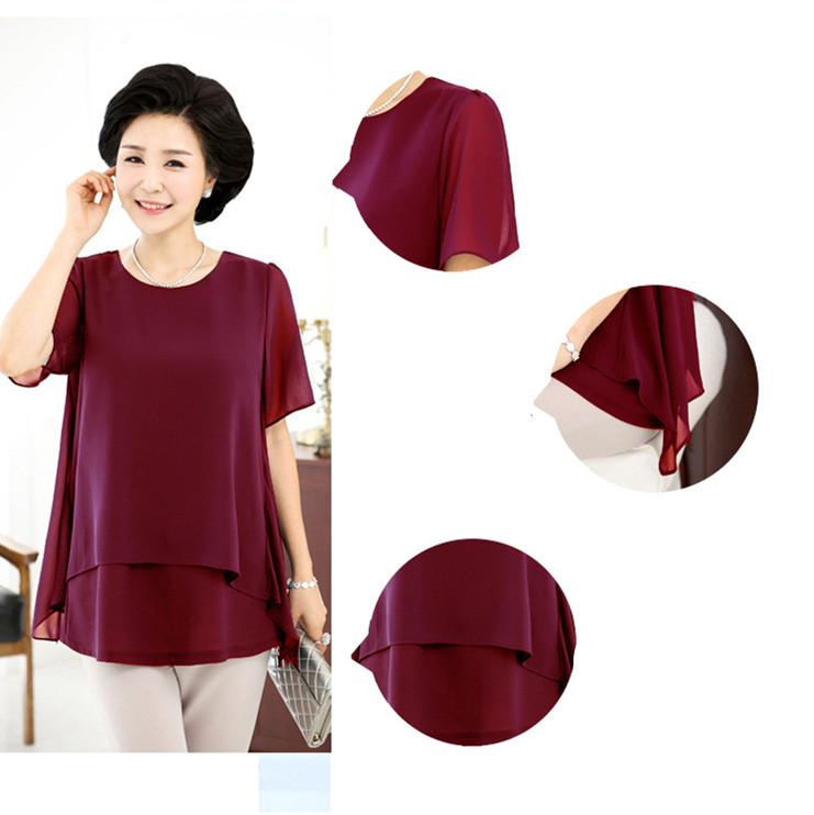 2019 Middle Age Women Summer Tops Big Size Mother Clothes Plus Large ... 55f0952769a7