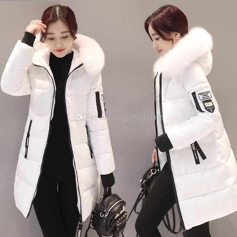 2018 nouveaux modèles de femmes d'hiver section longue section épaisse mince capuche grande fourrure col en duvet de coton