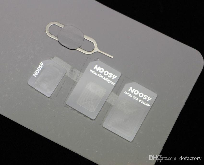 1000 adet / grup 4 1 Noosy Nano Mikro SIM Kart Adaptörü iPhone 5 5 S Için Pin Çıkar Perakende Kutusu ile iPhone 4 4 S