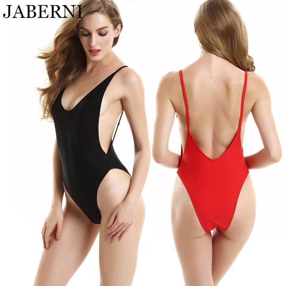 JABERNI tek parça mayo kadınlar seksi backless bodysuit plaj kıyafeti mayo monokini katı kırmızı siyah mayo boyutu XL XXL