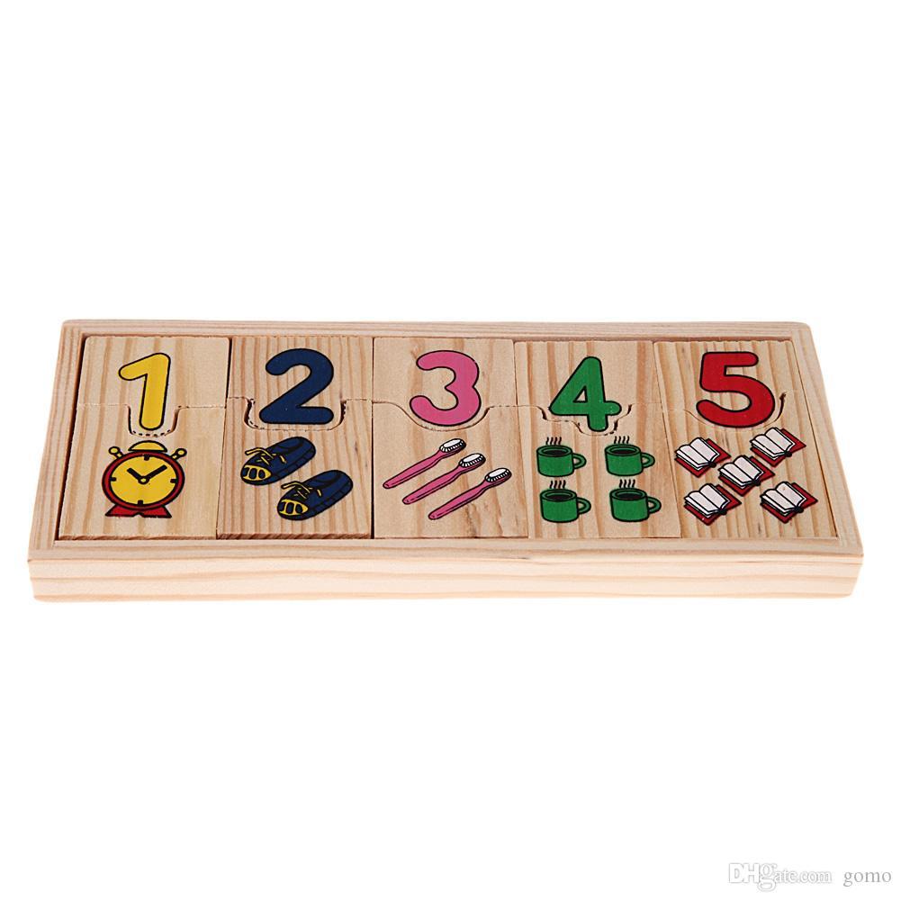Puzzle Oyuncak Eşleştirme Ahşap Numara Sayma Bulmaca Oyuncak Bebek Okul Öncesi Eğitim Matematik Öğrenme Desen Numaraları