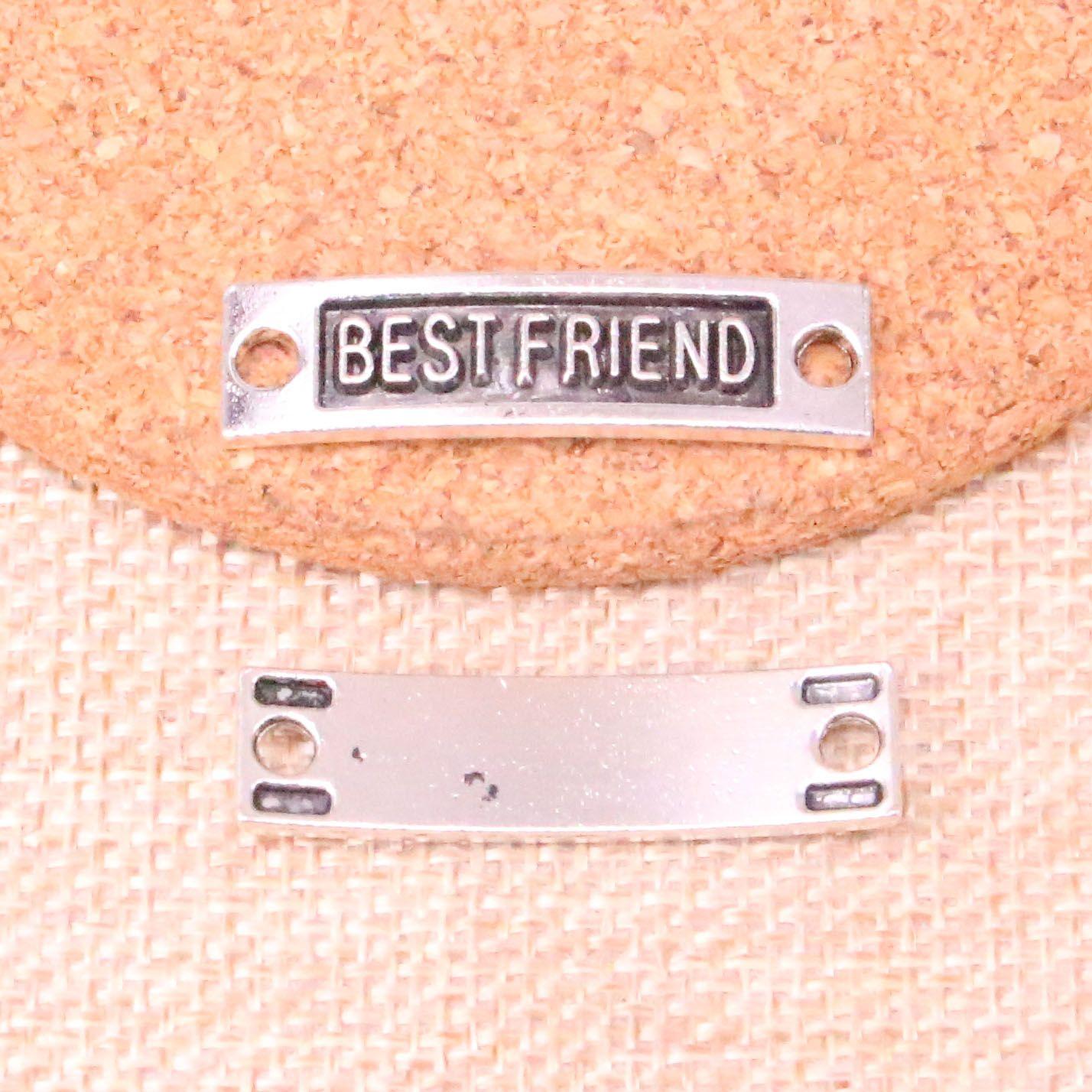 40pcs Antique silver best friend connector Charms Pendant Fit Bracelets Necklace DIY Metal Jewelry Making 35*9mm