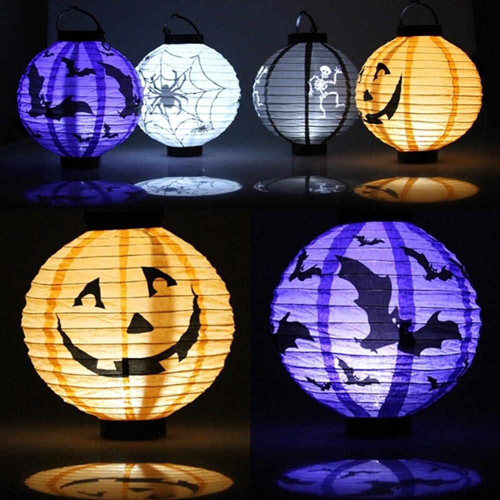 1 pcs Halloween Décoration LED Papier Citrouille Lumière Suspendus Lanterne Lampe Halloween Accessoires En Plein Air Articles De Fête