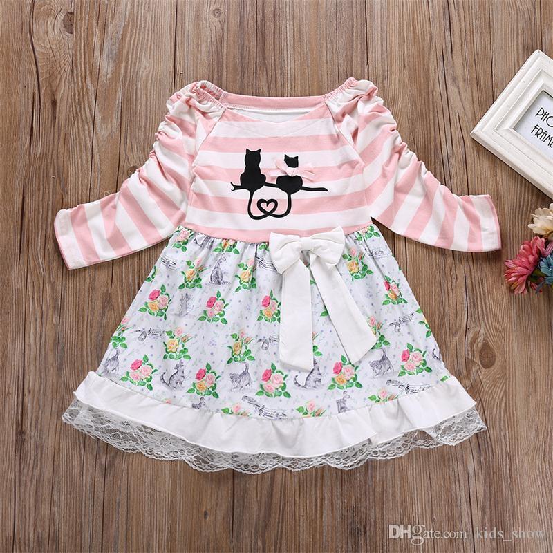 Kleinkind baby mädchen langarm gestreiftes kleid niedlich hübsch blumenspitze patchwork dress bogen a-line knielangen blcak cat dress