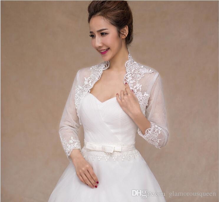 Novo Fora Do Ombro Do Ombro Manga Comprida Lace Bolero Jaqueta Jaquetas De Casamento De Noiva Mulheres Jaquetas De Casamento