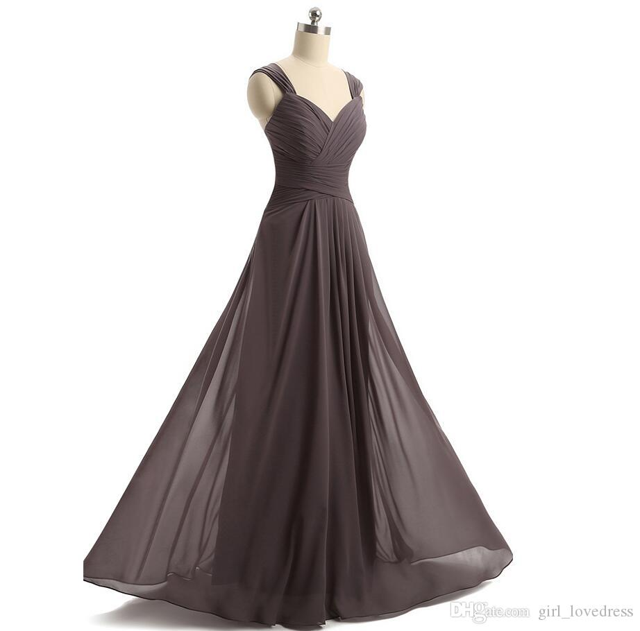 Fotos reales Mujeres A-Line Cuello de cuello en V Presión de dama de honor plisada Longitud de piso personalizado Longitud gris Maxi Vestido para vestidos de fiesta de boda
