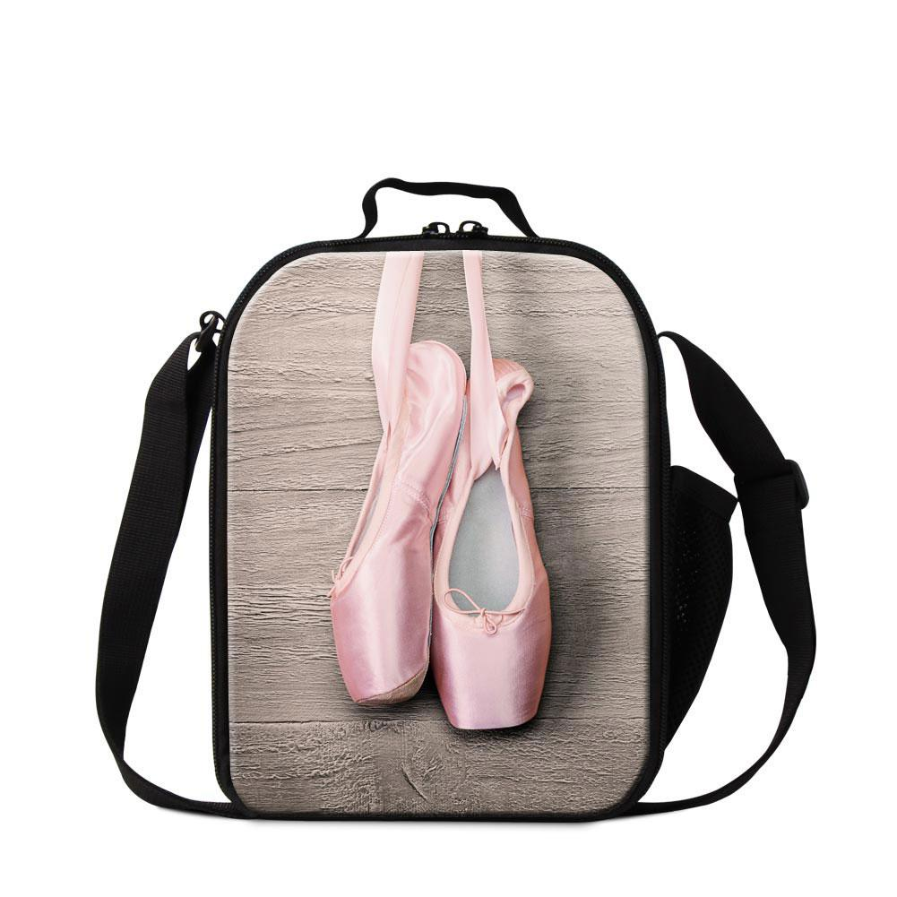 Pink Ballet Toe Shoe Print Small Cooler Bag for Kids Girls Cute Crossbody Lunch Bag Mini Lunch Container for Adult Office Meal Bag Children