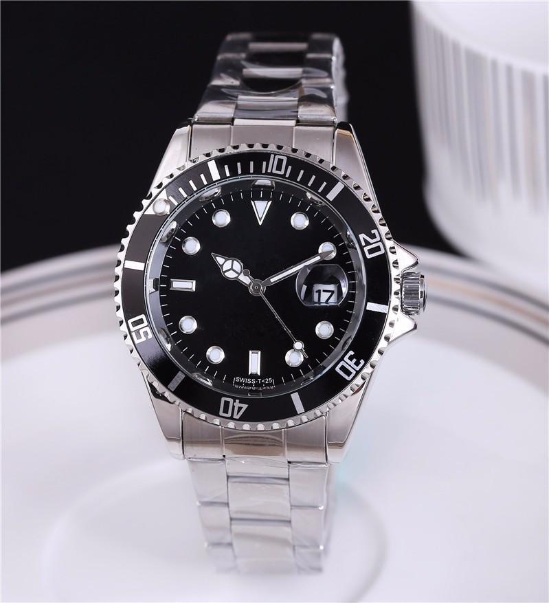 유명한 로고 럭셔리 남성 시계 Relogio Masculino 시계 럭셔리 손목 시계 패션 블랙 다이얼 캘린더 풀 스테인레스 스틸 시계