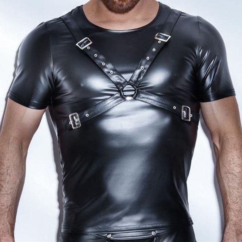 Męskie T Shirt Patent Leather Tshirts Sexy Mężczyźni Moda Tees Tight Shirts Faux Leather Zabawne Podnośniki Corset Gay Męskie Odzież