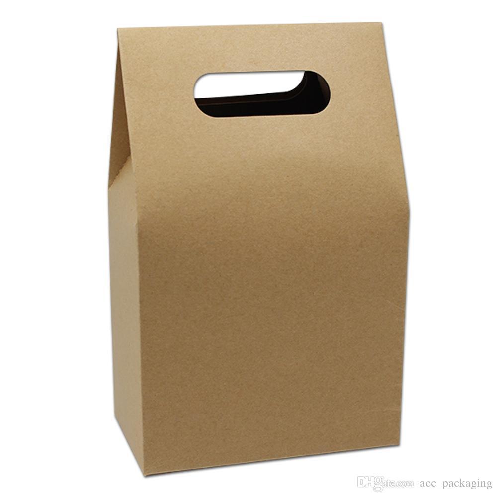 20pcs 10.5x16 + 6cm Dessous Stand Up Kraft Boîte De Paquet De Papier avec Poignée Alimentaire Café Thé Partie Cadeau Stand Up Kraft Papier Artisanat Art Poignée Boîtes